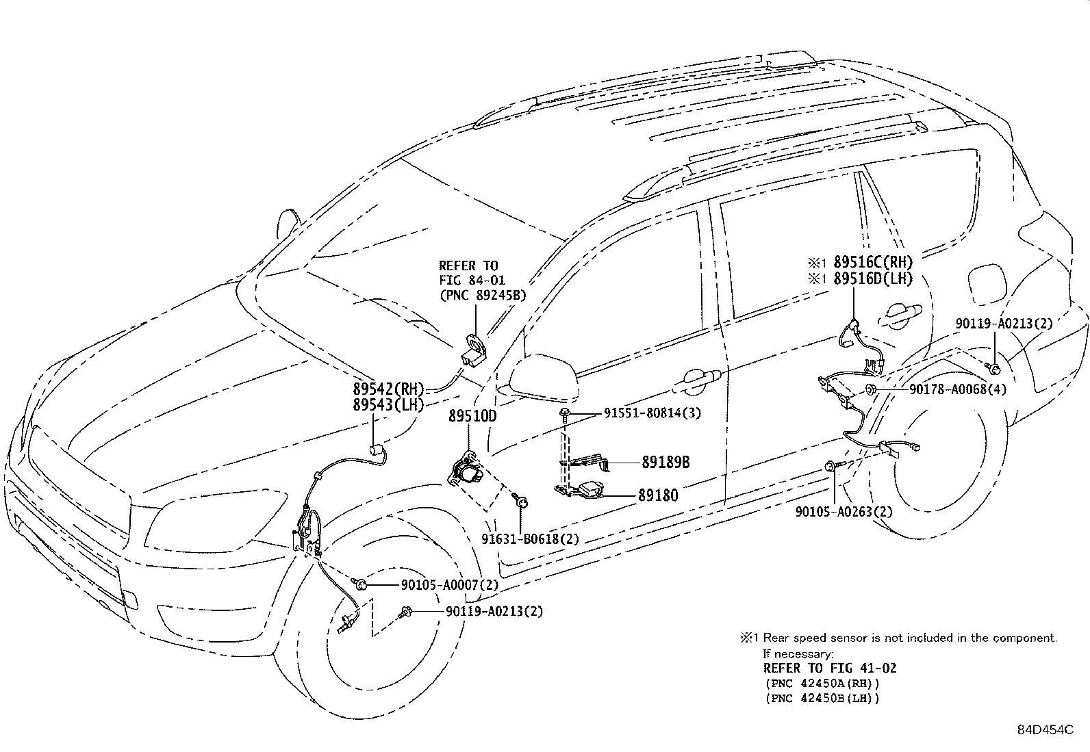 Toyota Rav4 Abs Wheel Speed Sensor Wiring Harness  Left